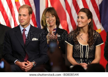 "LOS ANGELES - JULY 10:  Prince William, and Catherine,  The Duke And Duchess Of Cambridge attend The Mission Serve ""Hiring Our Heroes"" Job Fair at Sony Pictures on July 10, 2011 in Culver City, CA - stock photo"