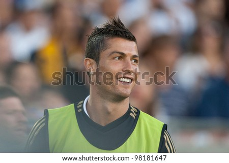LOS ANGELES - JULY 16: Real Madrid C.F. F Cristiano Ronaldo #7 warms up during the World Football Challenge game on July 16 2011 at the Los Angeles Memorial Coliseum in Los Angeles, CA - stock photo