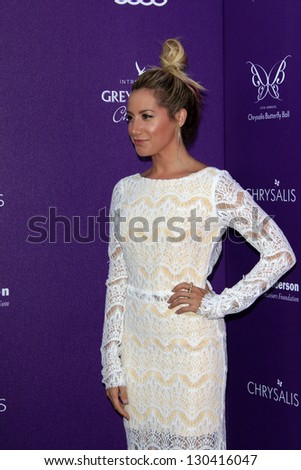 LOS ANGELES - JUN 9:  Ashley Tisdale arriving at 11th Annual Chrysalis Butterfly Ball at Private Residence on June 9, 2012 in Los Angeles, CA - stock photo