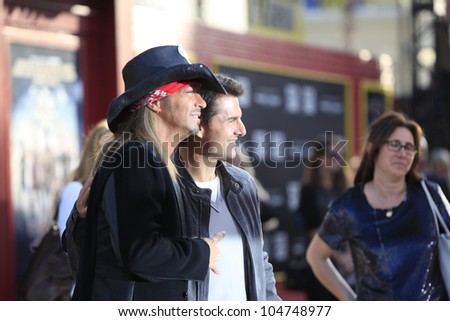 LOS ANGELES - JUN 8: Bret Michaels, Tom Cruise at the 'Rock of Ages' Los Angeles premiere held at Grauman's Chinese Theater on June 8, 2012 in Los Angeles, California - stock photo