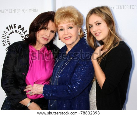LOS ANGELES - JUN 7:  Carrie Fisher, Debbie Reynolds, Billie Catherine Lourd arrive at the Debbie Reynolds Collection Auction Preview at Paley Center For Media on June 7, 2011 in Beverly Hills, CA - stock photo