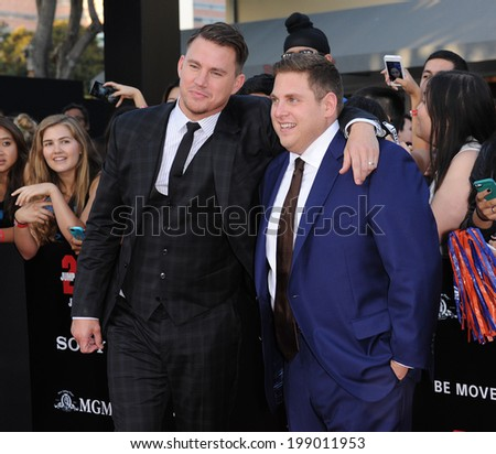 """LOS ANGELES - JUN 09:  Channing Tatum & Jonah Hill arrives to the """"22 Jump Street"""" World Premiere  on June 09, 2014 in North Hollywood, CA                 - stock photo"""