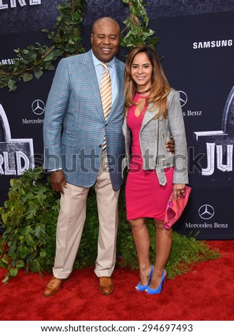 "LOS ANGELES - JUN 09:  Chi McBride & Julissa McBride arrives to the ""Jurassic World"" World Premiere  on June 9, 2015 in Hollywood, CA                 - stock photo"