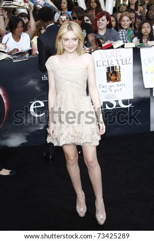 LOS ANGELES - JUN 24:  Dakota Fanning arrives at the premiere of 'The Twilight Saga: Eclipse' on June 24, 2010 at the Nokia Theater at LA Live in Los Angeles, CA - stock photo