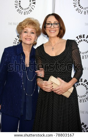 LOS ANGELES - JUN 7:  Debbie Reynolds, Patricia Heaton arrive at the Debbie Reynolds Collection Auction Preview at Paley Center For Media on June 7, 2011 in Beverly Hills, CA - stock photo