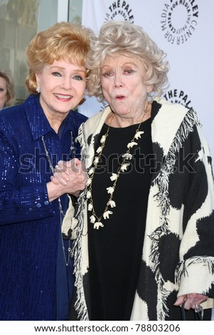 LOS ANGELES - JUN 7:  Debbie Rynolds, Phyllis Diller arrive at the Debbie Reynolds Collection Auction Preview at Paley Center For Media on June 7, 2011 in Beverly Hills, CA - stock photo