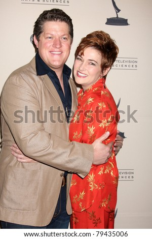 LOS ANGELES - JUN 16:  Derk Cheetwood, Carolyn Hennesy arriving at the ATAS Daytime Emmy Nominee Reception at SLS Hotel at Beverly Hills on June 16, 2011 in Beverly Hills, CA - stock photo