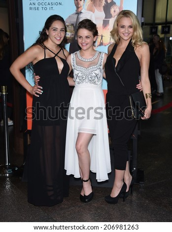 """LOS ANGELES - JUN 23:  Hunter King, Joey King & Kelli King arrives to the """"Wish I Was Here"""" Los Angeles Premiere  on June 23, 2014 in Los Angeles, CA                 - stock photo"""