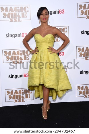 "LOS ANGELES - JUN 25:  Jada Pinkett Smith arrives to the ""Magic Mike XXL"" World Premiere  on June 25, 2015 in Hollywood, CA                 - stock photo"