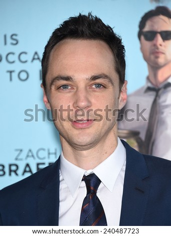 "LOS ANGELES - JUN 23:  Jim Parsons arrives to the ""Wish I Was Here"" Los Angeles Premiere  on June 23, 2014 in Los Angeles, CA                 - stock photo"