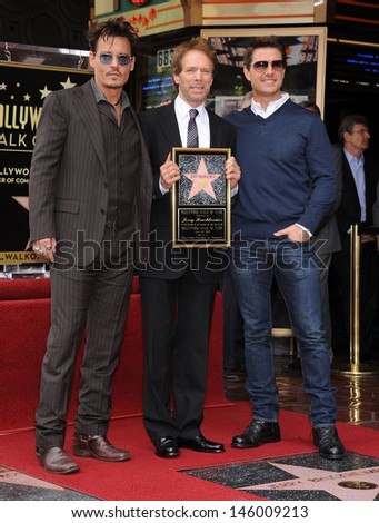 LOS ANGELES - JUN 23:  Johnny Depp, Jerry Bruckheimer &Tom Cruise arrives to the Walk of Fame Honors Jerry Bruckheimer  on June 23, 2013 in Hollywood, CA                 - stock photo