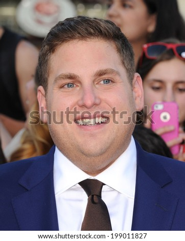 "LOS ANGELES - JUN 09:  Jonah Hill arrives to the ""22 Jump Street"" World Premiere  on June 09, 2014 in North Hollywood, CA                 - stock photo"