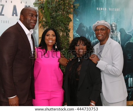 LOS ANGELES - JUN 27:  Magic Johnson, Cookie Johnson, LaTanya Richardson-Jackson, Samuel L. Jackson at The Legend Of Tarzan Premiere at the Dolby Theater on June 27, 2016 in Los Angeles, CA - stock photo