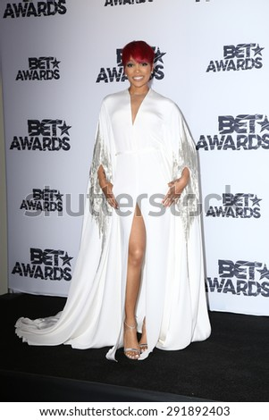LOS ANGELES - JUN 28:  Monica at the 2015 BET Awards - Press Room at the Microsoft Theater on June 28, 2015 in Los Angeles, CA - stock photo