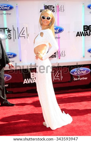 LOS ANGELES - JUN 29:  Paris Hilton at the 2014 BET Awards - Arrivals at the Nokia Theater at LA Live on June 29, 2014 in Los Angeles, CA - stock photo