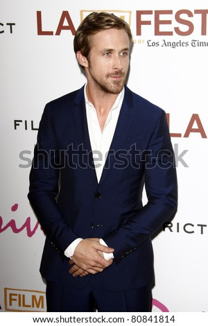 """LOS ANGELES - JUN 17:  Ryan Gosling arriving at the """"Drive"""" Premiere  during the 2011 Los Angeles Film Festival at the Regal Cinemas L.A. Live on June 17, 2011 in Los Angeles, CA - stock photo"""