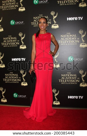 LOS ANGELES - JUN 22:  Shaun Robinson at the 2014 Daytime Emmy Awards Arrivals at the Beverly Hilton Hotel on June 22, 2014 in Beverly Hills, CA - stock photo