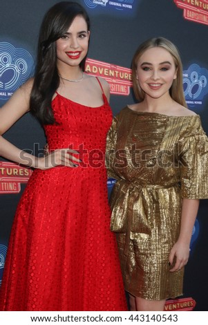 LOS ANGELES - JUN 23:  Sofia Carson, Sabrina Carpenter at the 100th DCOM Adventures In Babysitting LA Premiere Screening at the Directors Guild of America on June 23, 2016 in Los Angeles, CA - stock photo