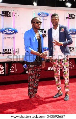 LOS ANGELES - JUN 29:  Toofan, Master Just, Barabas at the 2014 BET Awards - Arrivals at the Nokia Theater at LA Live on June 29, 2014 in Los Angeles, CA - stock photo