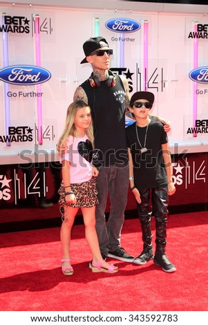 LOS ANGELES - JUN 29:  Travis Barker at the 2014 BET Awards - Arrivals at the Nokia Theater at LA Live on June 29, 2014 in Los Angeles, CA - stock photo