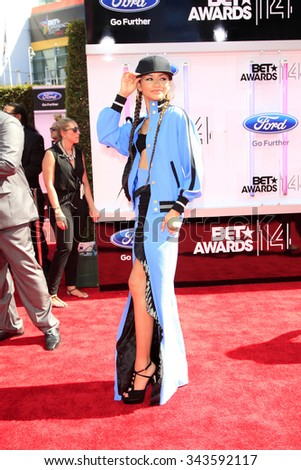 LOS ANGELES - JUN 29:  Zendaya Coleman at the 2014 BET Awards - Arrivals at the Nokia Theater at LA Live on June 29, 2014 in Los Angeles, CA - stock photo