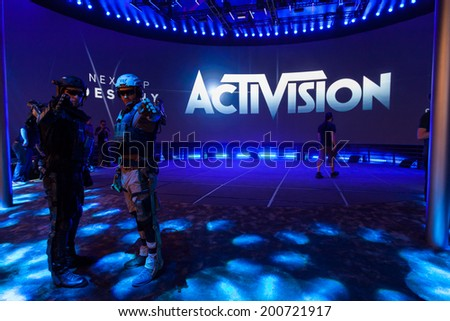 LOS ANGELES - JUNE 12: Activision Booth with Destiny and Call of Duty: Advanced Warfare at E3 2014, the Expo for video games on June 12, 2014 in Los Angeles - stock photo