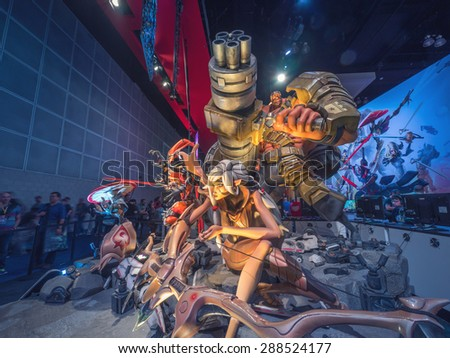 LOS ANGELES - June 17: Battleborn game characters sculpture group at 2K booth at E3 2015 expo. Electronic Entertainment Expo, commonly known as E3, is an annual trade fair for the video game industry - stock photo