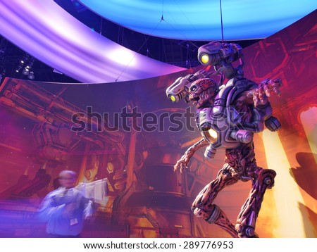 LOS ANGELES - June 17, 2015: Doom game photo op at the E3 2015 expo in Convention Center. Electronic Entertainment Expo, commonly known as E3, is an annual trade fair for the video game industry. - stock photo