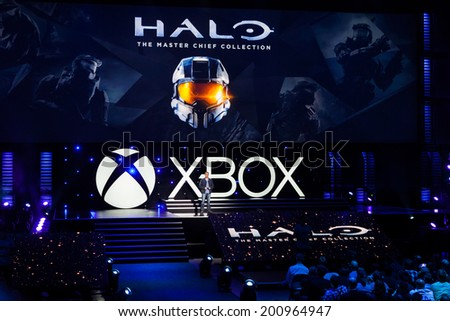 LOS ANGELES - JUNE 9:  Microsoft introducing Halo The Master Chief Collection at Xbox media briefing at E3 2014, the Expo for video games on June 9, 2014 in Los Angeles - stock photo