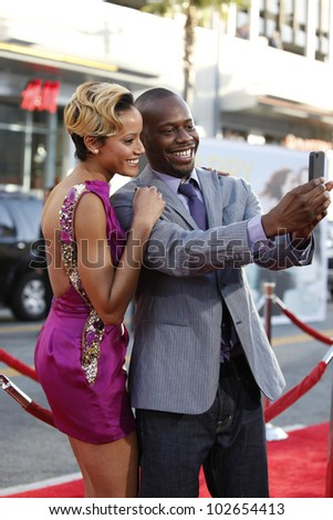 LOS ANGELES - JUNE 27: Selita Ebanks; Malcolm Barrett at the Premiere of Universal Pictures' 'Larry Crowne' at Grauman's Chinese Theatre on June 27, 2011 in Los Angeles, California - stock photo
