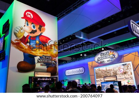 LOS ANGELES - JUNE 12: Super Mario and Super Smash Bros for wii at Nintendo booth at E3 2014, the Expo for video games on June 12, 2014 in Los Angeles - stock photo