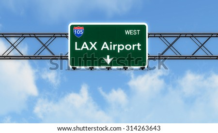 Los Angeles LAX USA Airport Highway Sign 3D Illustration - stock photo
