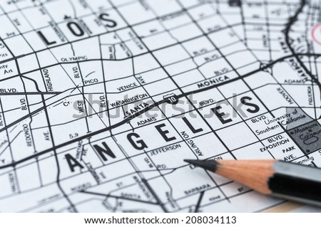 los angeles map - stock photo