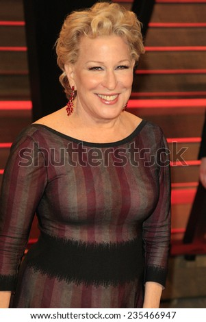 LOS ANGELES - MAR 2:  Bette Midler at the 2014 Vanity Fair Oscar Party at the Sunset Boulevard on March 2, 2014 in West Hollywood, CA - stock photo