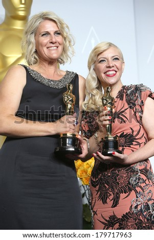 LOS ANGELES - MAR 2:  Beverley Dunn, Catherine Martin, winners  at the 86th Academy Awards at Dolby Theater, Hollywood & Highland on March 2, 2014 in Los Angeles, CA - stock photo