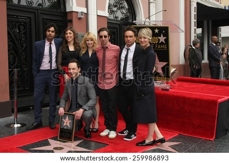 LOS ANGELES - MAR 11:  BIg Bang Theory Cast at the Jim Parsons Hollywood Walk of Fame Ceremony at the Hollywood Boulevard on March 11, 2015 in Los Angeles, CA - stock photo