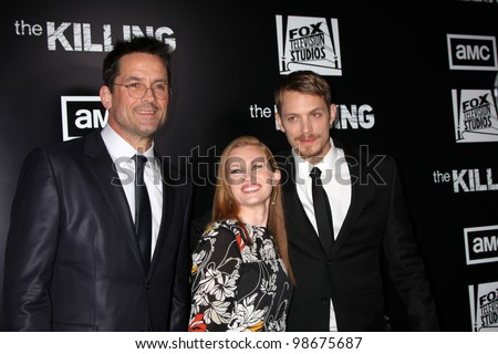 """LOS ANGELES - MAR 26:  Billy Campbell, Mireille Enos, Joel Kinnaman arrives at  the AMC's """"The Killing"""" Season 2 Premiere at the ArcLight Theaters on March 26, 2012 in Los Angeles, CA - stock photo"""