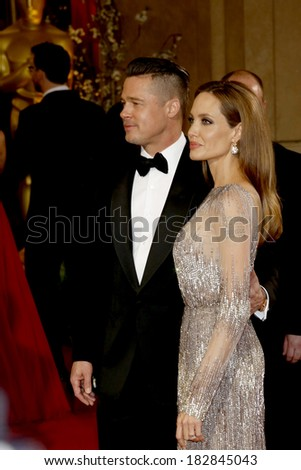 LOS ANGELES - MAR 2:  Brad Pitt, Angelina Jolie at the 86th Academy Awards at Dolby Theater, Hollywood & Highland on March 2, 2014 in Los Angeles, CA - stock photo