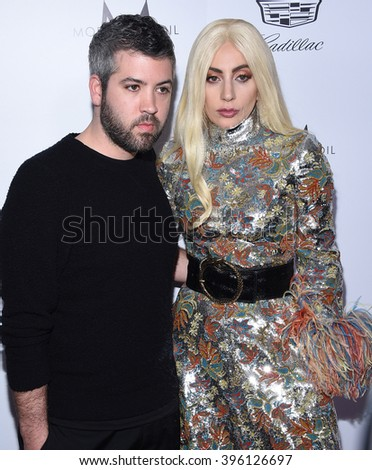 LOS ANGELES - MAR 20:  Brandon Maxwell & Lady Gaga arrives to the 2nd Annual Fashion Los Angeles Awards  on March 20, 2016 in Hollywood, CA.                 - stock photo
