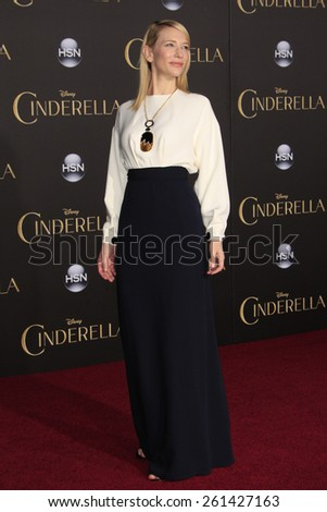 LOS ANGELES - MAR 1: Cate Blanchett at the World Premiere of 'Cinderella' at the El Capitan Theater on March 1, 2015 in Hollywood, Los Angeles, California - stock photo