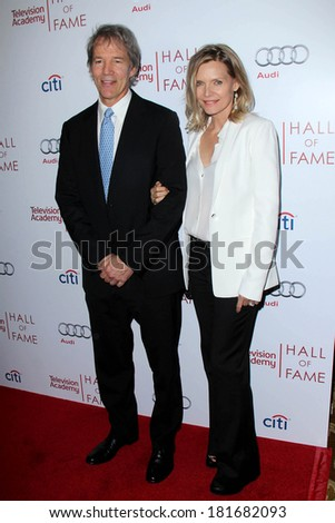 LOS ANGELES - MAR 11:  David E Kelley, Michelle Pfeiffer at the Television Academy's 23rd Hall Of Fame Induction Gala at Beverly Wilshire Hotel on March 11, 2014 in Beverly Hills, CA - stock photo