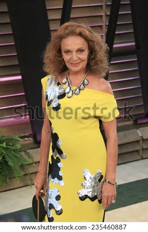 LOS ANGELES - MAR 2:  Diane Von Furstenberg at the 2014 Vanity Fair Oscar Party at the Sunset Boulevard on March 2, 2014 in West Hollywood, CA - stock photo