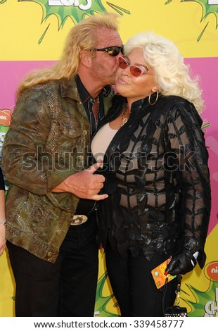 LOS ANGELES - MAR 23 - Duane Chapman, aka Dog the Bounty Hunter and Wife Beth arrives at the Nickelodeons 2013 Kids Choice Awards on March 23,  2013 in Los Angeles, CA              - stock photo