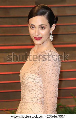 LOS ANGELES - MAR 2:  Emmy Rossum at the 2014 Vanity Fair Oscar Party at the Sunset Boulevard on March 2, 2014 in West Hollywood, CA - stock photo