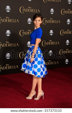 LOS ANGELES - MAR 1: G. Hannelius at the World Premiere of 'Cinderella' at the El Capitan Theater on March 1, 2015 in Hollywood, Los Angeles, California - stock photo