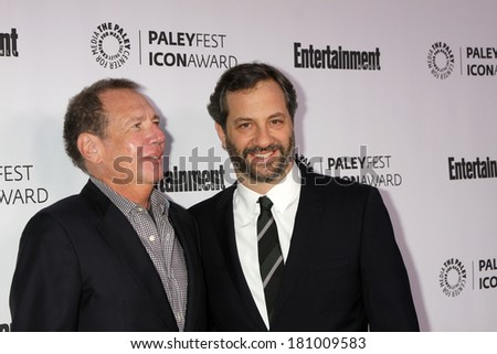 LOS ANGELES - MAR 10:  Garry Shandling, Judd Apatow at the PALEYFEST Icon Award IHO Judd Apatow at Paley Center For Media on March 10, 2014 in Beverly Hills, CA - stock photo