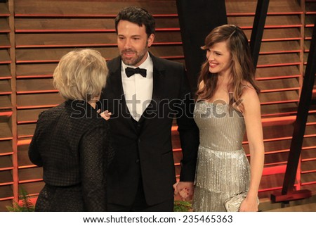 LOS ANGELES - MAR 2:  Glenn Close, Ben Affleck, Jennifer Garner at the 2014 Vanity Fair Oscar Party at the Sunset Boulevard on March 2, 2014 in West Hollywood, CA - stock photo