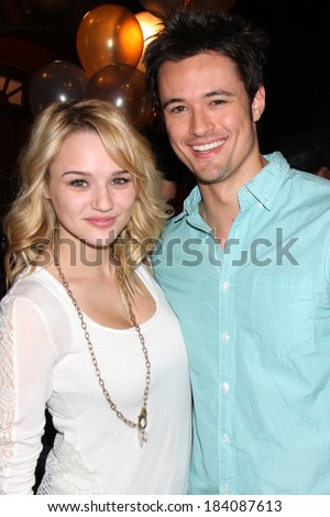 LOS ANGELES - MAR 25:  Hunter King, Matthew Atkinson at the Young and Restless 41st Anniversary Cake at CBS Television City on March 25, 2014 in Los Angeles, CA - stock photo