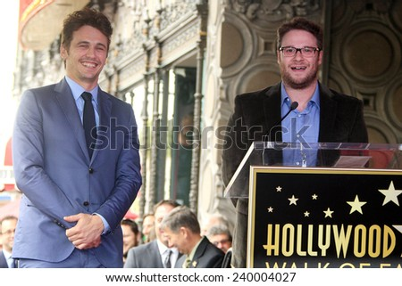 LOS ANGELES - MAR 7: James Franco, Seth Rogen at a ceremony as James Franco is honored with a star on the Hollywood Walk of Fame on March 7, 2013 in Los Angeles, California - stock photo