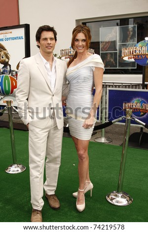 LOS ANGELES - MAR 27:  James Marsden and wife Lisa Linde arrive at the World Premiere of 'HOP' held at Universal Studios Hollywood on March 27, 2011 in Los Angeles, California - stock photo